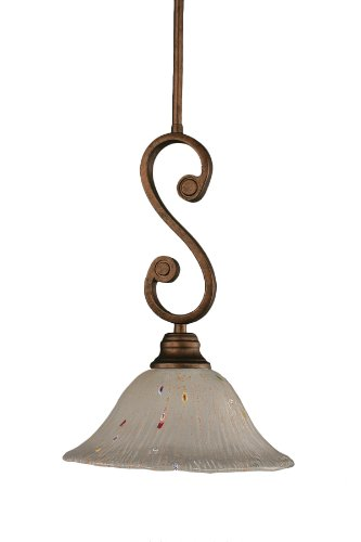 Toltec Lighting 50-BRZ-731 Curl Mini-Pendant Light Bronze Finish with Frosted Crystal Glass Shade, 10-Inch