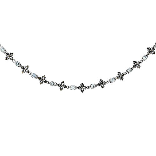 Sterling Silver Cubic Zirconia Lavender Floral Marcasite Necklace, 16 inches long by Sabrina Silver