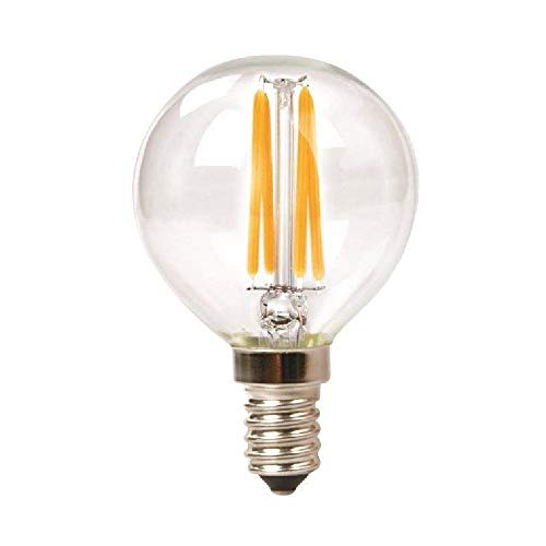 G40 Compact Fluorescent Light Bulb - TriGlow T98095 LED 3.5 Watt (40W Replacement) DIMMABLE 2700K (Warm White Color), 300 Lumen, E12 Candelabra Base G16.5 Globe Clear Filament LED Bulb