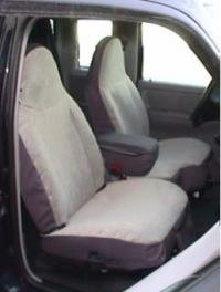 Durafit Seat Covers, Made to fit 1998-2001 Ranger XLT XCab High Back 60/40 Split Bench Seat Covers in Silver Leatherette with Opening Center Console and Rear Jump Seats