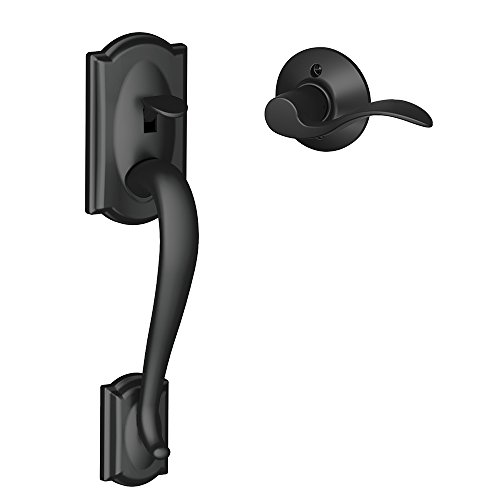 Schlage FE285 CAM 622 Acc LH Camelot Trim Lower Half Front Entry Handleset with Accent Left Hand Lever, Matte Black