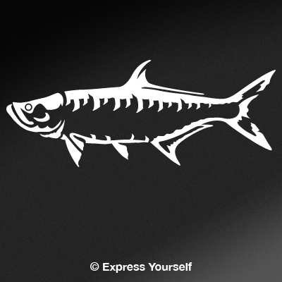 Express Yourself Products Tarpon (White - Image Facing as Shown - Small) Decal Sticker - Saltwater Fish Collection