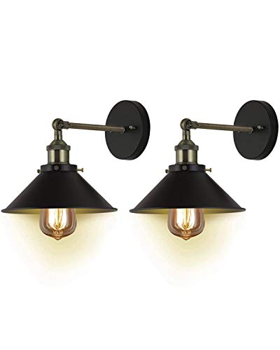 Deep Dream Metal Wall Sconce Shade 2 Pack, Black Hardwired 240 Degree Adjustable Vintage Industrial Sconces Wall Lighting Fixture (Without Bulbs)