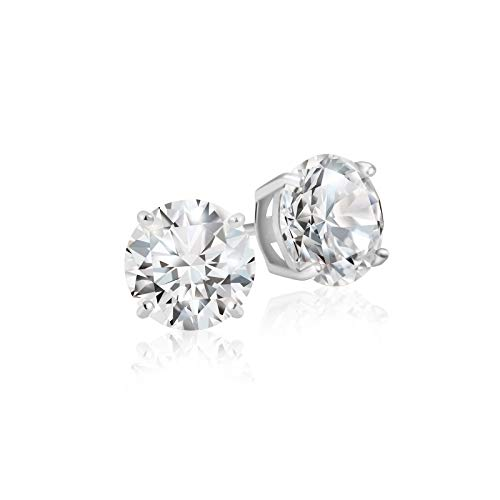 Lusoro 925 Sterling Silver Round Cut AAA Cubic Zirconia Stud Earrings - 1/2 Carat Total Weight CZ (925 Single Sterling Silver)