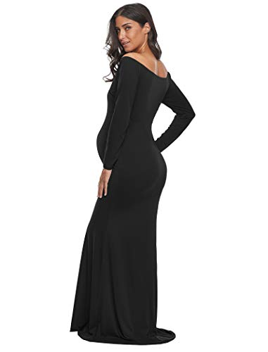 f5c01fa2f81e0 Ecavus Women's Off Shoulder Maternity Slim Fitted Gown Cross-Front V Neck  Ruched Long Sleeve Maxi Photography Dress at Amazon Women's Clothing store: