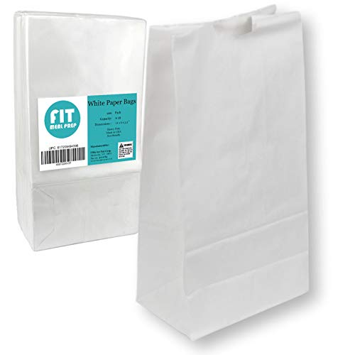 6 LB 11 x 6 x 3.5 White Paper Bags Grocery Lunch Retail Shopping Durable Bleached Barrel Sack [200 Pack]