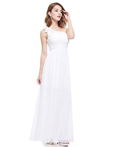de Dama Honor Fiesta Mujer de Ever para Vestido Elegante Pretty Blanco Boda Vestido 08237 Largo Cóctel Verano Fztzw