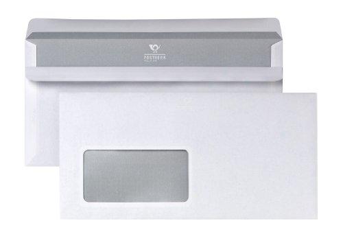 POSTHORN 02220153 Briefumschlag DIN lang (110x220 mm), 75g weiß, mit Fenster, selbstklebend, 1000 Stück