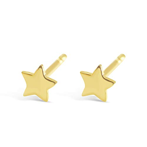 Sterling Silver Dainty Star Stud Earrings in Gold, Rose Gold or Silver | Minimalist Hypoallergenic Studs (Gold Plated Sterling Silver) (4mm Star Stud Earrings)