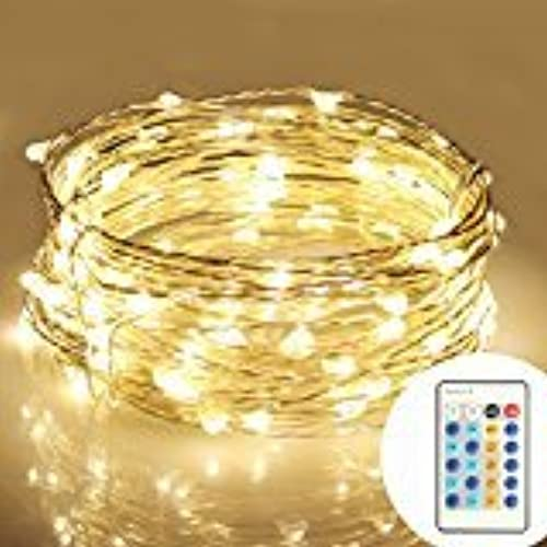 moniko string lights with remote copper wire lights indoor or outdoor christmas lights for bedroom garden patio wedding christmas tree party waterproof 100 - Gold Christmas Decorations