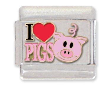 - I Love Pigs Italian Charm Bracelet Link