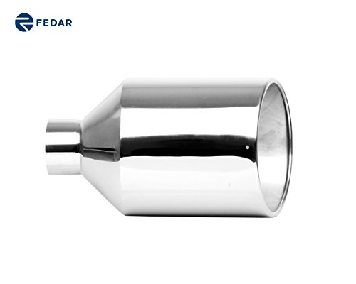 Fedar 4'' Inlet, 10'' Outlet 18'' Long Rolled End Angle Cut Exhaust Tailpipe Tip