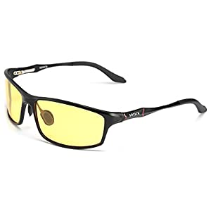 Night Driving Glasses Anti Glare Polarized HD Lenses for Night Safety Glasses (Black-3, yellow)