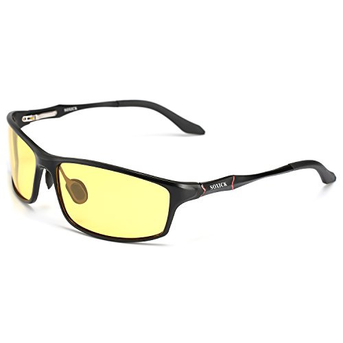 SOXICK Men's HD Polarized Anti-Glare Safety Glasses for Night Driving and outdoor activities (Black Frame, Yellow)