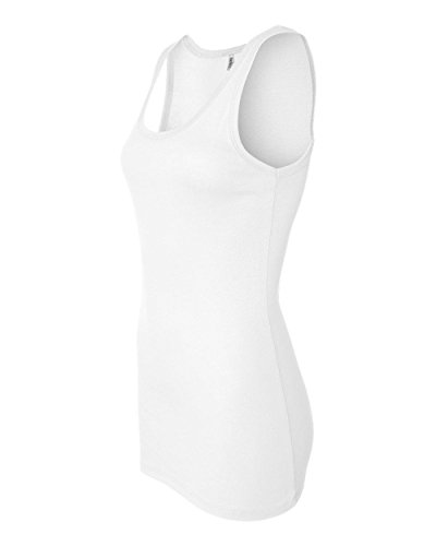 Bella Ladies Sheer Jersey Longer Length Tank Top. 8780 - Medium - White