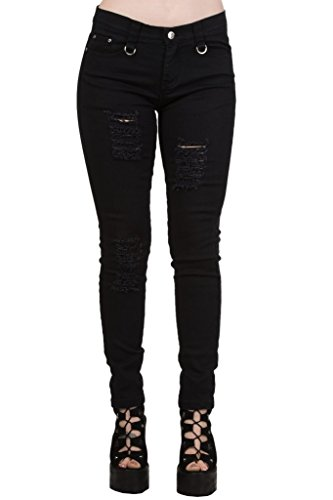 Women's Black Banned Ripped Tartan Plaid Check Emo Punk Skinny Jeans Pants Trousers - - Banned Jeans