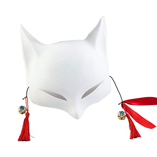 (Fox Mask for Adults or Kids Japanese Kabuki Masquerade Costume Mask Halloween (Blank) )