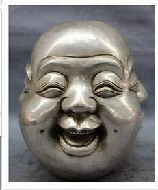 Kiartten Buddha Statue - Decoration Brass Rare Chinese Tibet Brass 4 Faces Buddha Head Statue JINHONGBO 5cm Chinese Dynasty Old Antique Pure Bronze ()