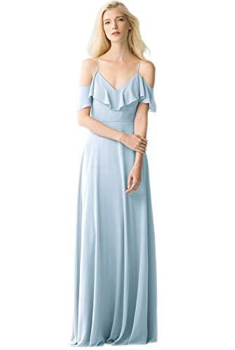 Women's Pleated V-Neck Off Shoulder Chiffon Party Evening Dress Long Bridesmaid Dress Bady Blue Size 2