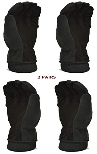(2 PAIR VALUE PACK Premium Deerskin Polar fleece Back and thinsulate lining Winter Outdoor Gloves, Themo Gloves, cold weather gloves, size Medium, 2 pairs)