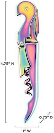 YUNLAN Inicio Portátil Vino Sacacorchos Gills, Sacacorchos Doble Bisagras, Sacacorchos de Vino Iridiscente y Cuchillo de Lámina saca corchos (Color : A)