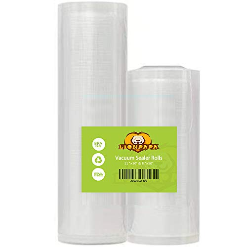 "Vacuum Sealer Bags Rolls – 11""x50′ and 8""x50′ for FoodSaver and Seal A Meal – BPA Free, 2 Rolls"