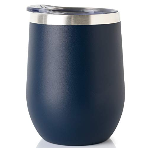 ONEB Stainless Steel Wine Tumbler with Lid, 12 OZ   Double Wall Vacuum Insulated Travel Tumbler Cup for Coffee, Wine, Cocktails, Ice Cream Cup With Lid (Navy, 12OZ-1pack) ()
