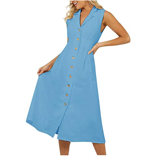 Womens V Neck Dress Sleeveless Button Down Cotton Linen Summer Casual Swing Maxi Dresses Blue