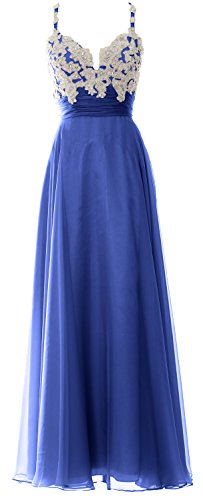 Straps Formal Evening Prom Blue Women Sweetheart Chiffon MACloth Royal Long Gown Lace Dress aWZ6gHyg