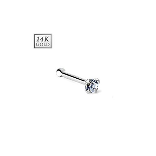 14k White Gold Nose Stud Earring with Ball End, Stone Size: 1mm Clear Cz Stone 14k White Gold Nose Ring