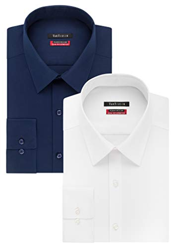 Van Heusen Men's Flex Collar Slim Fit Stretch Dress Shirt, White/Night Blue, 17