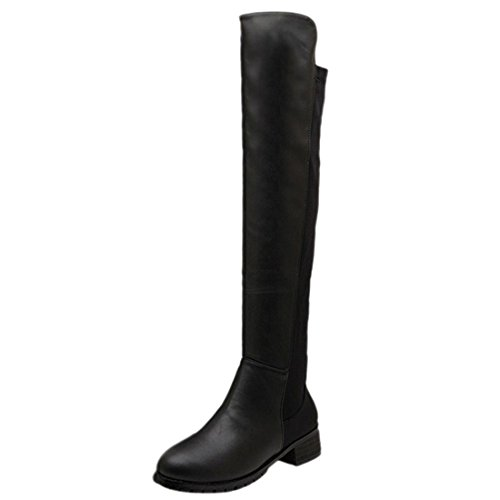 Pu Faux Wellies Shoes Over Knee Winter Leather Chaussures Heel Women PU Knight Boots Black Flat Bottes xRx4wfZpSq