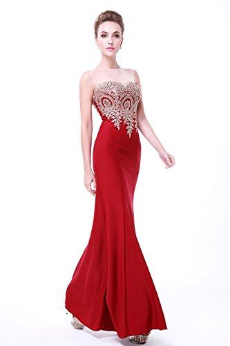 Evening Ballkleid Dark Fanciest Lang Red Damen Meerjungfrau Abendkleider Gowns Formelle Embroidery 7xPg0wTnIq