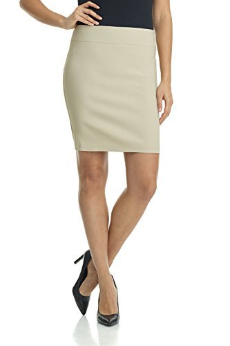 Rekucci Women's Ease Into Comfort Above The Knee Stretch Pencil Skirt 19 inch (X-Large,Stone) 3 Piece Nurse Outfit