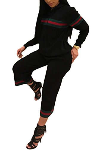 Cropped Womens Pullover (Pink Queen Womens Pullover Sweatshirt Cropped Pants 2 Piece Jogging Suit S Black)