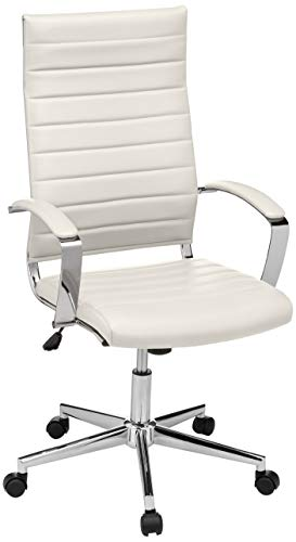 AmazonBasics High-Back Executive Swivel Office Desk Chair with Ribbed Puresoft Upholstery - White, Lumbar Support, Modern Style, BIFMA Certified