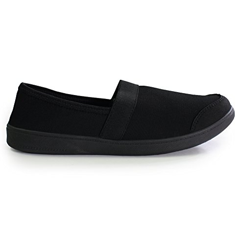 H2k Mood Mujeres Comfy Walking Flats Sneakers Zapatos Casuales Con Elástico Band Black & Black
