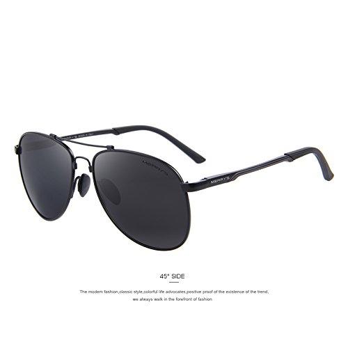 Hombre polarizadas C02 TR90 de TIANLIANG04 sol C01 aviación titanio clásicas Puente HD Gris sol de gafas conducir aluminio de gafas de Black 0qpqdw