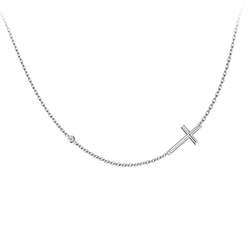 (Carleen 925 Sterling Silver Cubic Zirconia CZ Simulated Diamond Small Sideway Crucifix Pendant Necklace for Women Girls, 18
