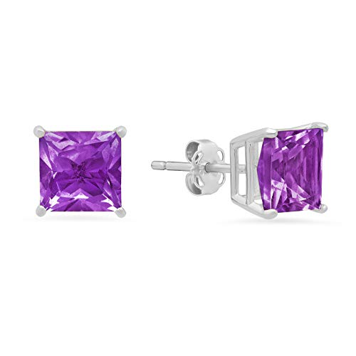 14k White or White Gold Solitaire Princess-Cut Amethyst Stud Earrings (7mm)