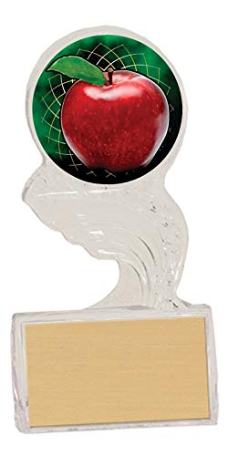 Express Medals (3-Pack) of 5.5 inch Acrylic Ice Scholastic Apple Trophies with Personalized Engraved Plates