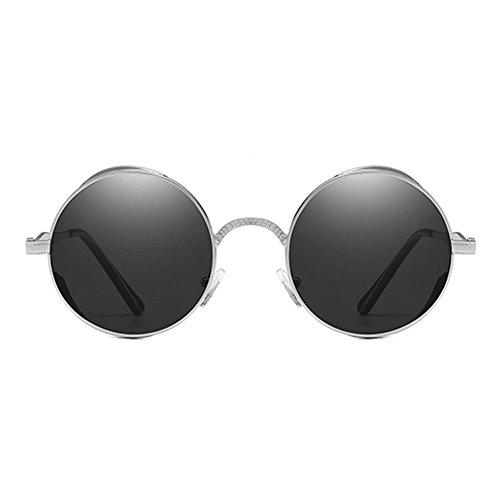 gothique steampunk en de rondes lunettes polarisées soleil MEIHAOWEI vue C2 Hommes métal femmes de Vintage lunettes 56w7qX5
