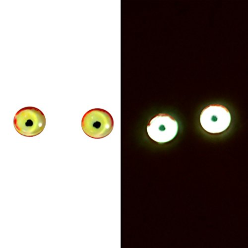8mm Glow in the Dark Glass Eyes Yellow Red Green Pair Taxidermy Sculptures or Jewelry Making Crafts Set of