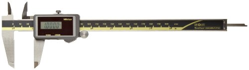 Mitutoyo 500-475 Digital Calipers, Solar Powered, Inch/Metric, for Inside, Outside, Depth and Step Measurements, Stainless Steel, 0