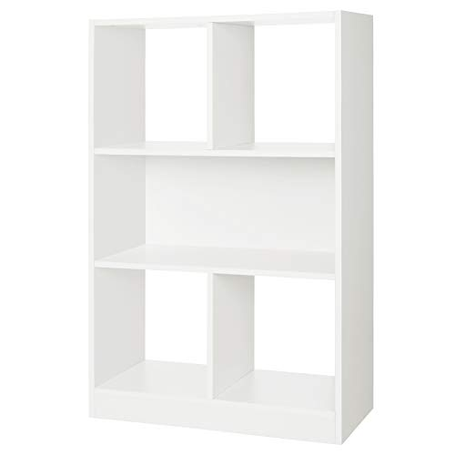 "SONGMICS Wooden Bookcase Open Cubes Shelves, Free Standing Bookshelf Storage Unit Display Cabinet, 22.7""L x 11""W x 37.2""H, White, (Open Bookcase Unit)"