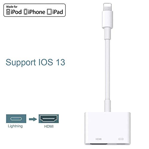 [Apple MFi Certified] Lightning to HDMI Adapter, 2 in 1 Plug and Play Digital AV Adapter 1080p HD TV Connector Cord Compatible with iPhone 11/11 Pro/XS/XR/X/8 on HDTV Monitor Projector Support iOS 13
