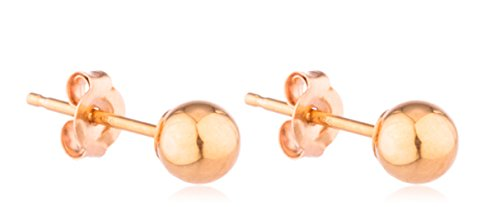 14K Gold Ball Earrings with Matching 14k Pushbacks - All Sizes and Colors Ava.. (All Fine Jewelry Gold Earrings)