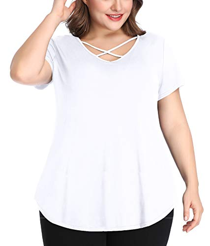 White Summer Tops for Women Plus Size 2X Girls Tshirts Criss Cross Solid Casual Loose Tee V Neck Ladies T Shirts Short - Plus Ladies Tops Size