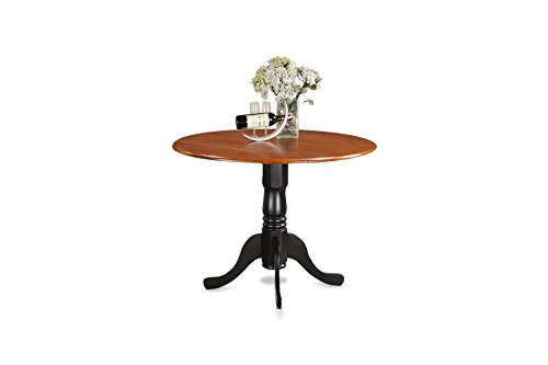 East West Furniture DLT-BCH-TP Round Table with Two 9-Inch Drop Leaves (Piece Set 9 Dining White)