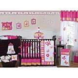 Pink and Orange Butterfly Collection Baby Bedding 9pc Crib Set